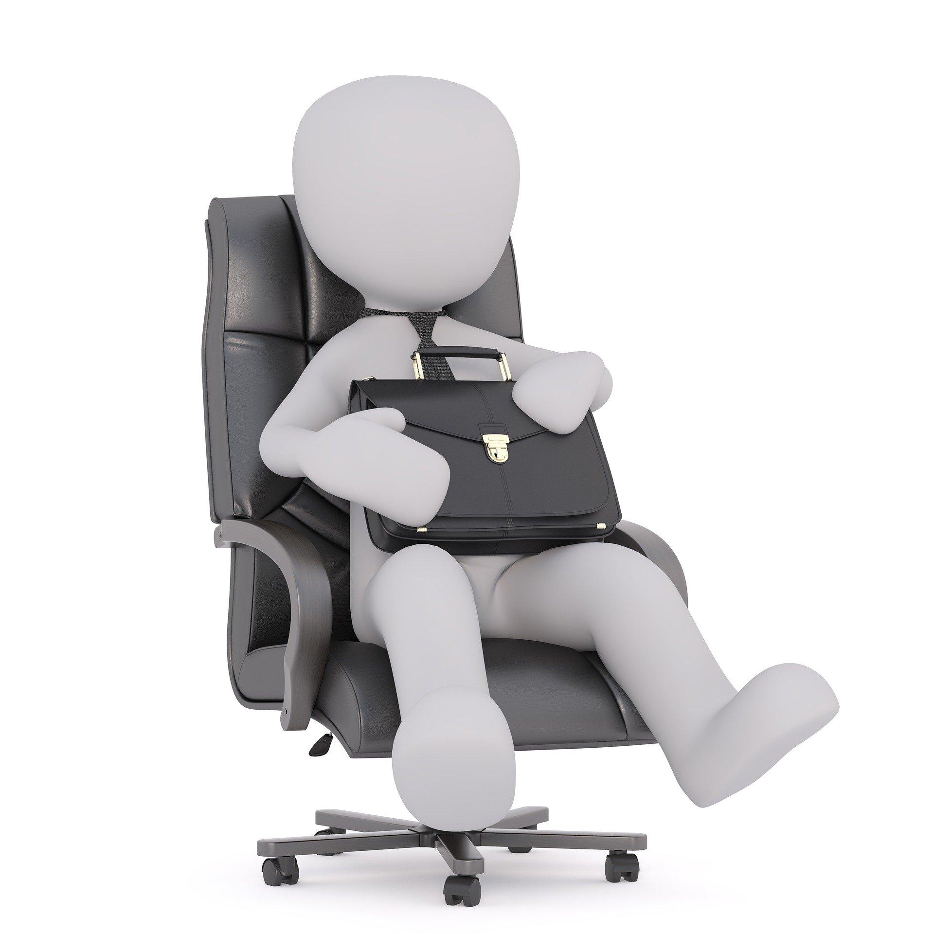 Illustration mand i kontorstol