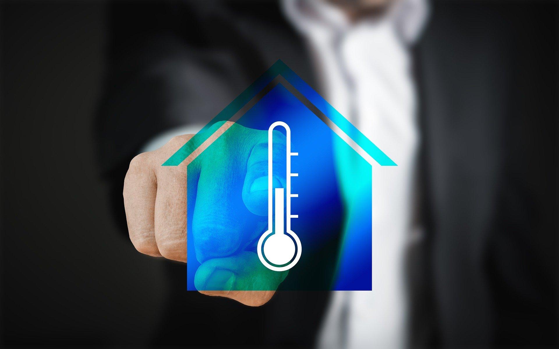 hus, varme, termostat, mand, peger